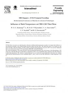 Influence of Bath Temperature on CBD-CdS Thin Films - ScienceDirect