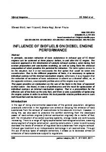 INFLUENCE OF BIOFUELS ON DIESEL ENGINE PERFORMANCE