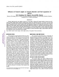 Influence of branch angles on branch diameter and ...