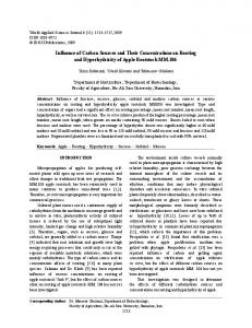 Influence of Carbon Sources and Their Concentrations on Rooting ...