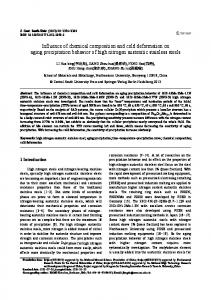Influence of chemical composition and cold deformation on aging ...