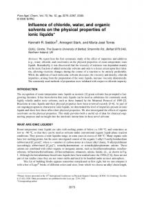 Influence of chloride, water, and organic solvents on the ... - CiteSeerX