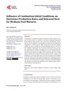 Influence of Combustion Initial Conditions on Emissions Production ...
