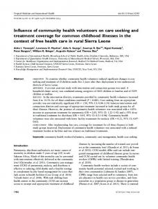 Influence of community health volunteers on care seeking and ...