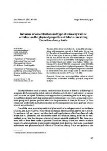 Influence of concentration and type of microcrystalline cellulose on the ...
