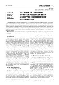 inFluence oF conditions oF Water Production From air on the