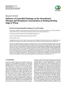 Influence of Controlled Drainage on the Groundwater Nitrogen and ...