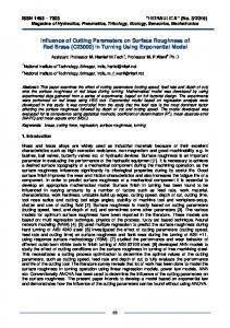 Influence of Cutting Parameters on Surface Roughness of Red Brass ...