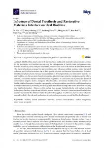 Influence of Dental Prosthesis and Restorative Materials ... - MDPI