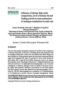 Influence of dietary fatty acids composition, level of dietary fat and feed ...