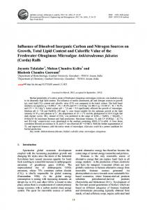 Influence of Dissolved Inorganic Carbon and Nitrogen Sources on