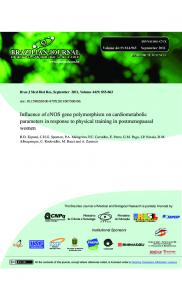 Influence of eNOS gene polymorphism on cardiometabolic ... - Scielo.br