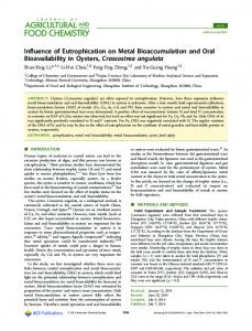 Influence of Eutrophication on Metal Bioaccumulation and Oral ...