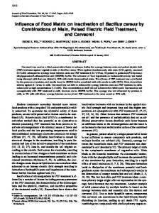 Influence of Food Matrix on Inactivation of Bacillus cereus by ...