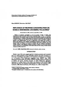 influence of frother concentration on bubble dimensions ... - CiteSeerX
