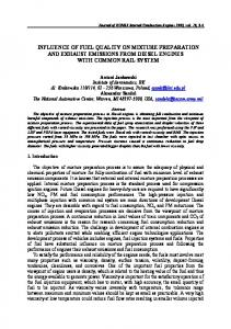 influence of fuel quality on mixture preparation and exhaust emissions ...