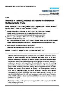 Influence of Handling Practices on Material Recovery from ... - MDPI