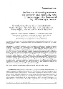 Influence of housing systems on stillbirth and mortality rate in ...