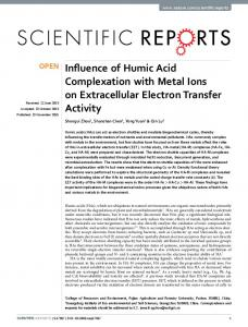 Influence of Humic Acid Complexation with Metal Ions on Extracellular
