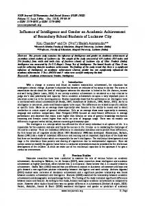 Influence of intelligence on Academic Achievement of ... - IOSR journals