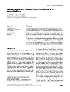 Influence of learning on range expansion and adaptation to novel ...