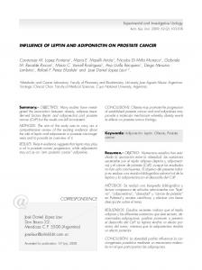 INFLUENCE OF LEPTIN AND ADIPONECTIN ON PROSTATE ...