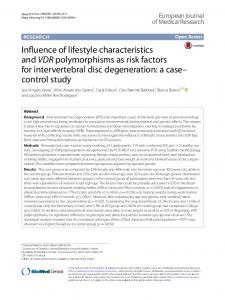 Influence of lifestyle characteristics and VDR polymorphisms as risk ...