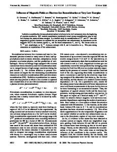 Influence of Magnetic Fields on Electron-Ion Recombination at Very ...