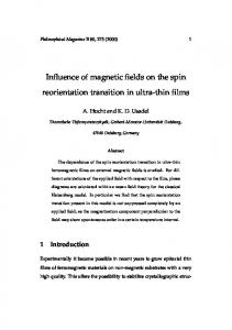 Influence of magnetic fields on the spin reorientation ... - CiteSeerX