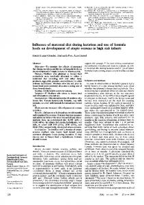 Influence of maternal diet during lactation and use
