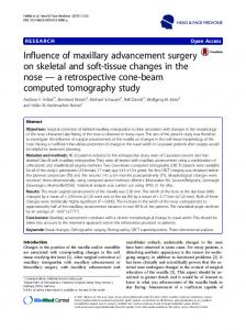 Influence of maxillary advancement surgery on skeletal and soft-tissue ...