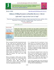 Influence of Milling Parameters on Head Rice Recovery - International