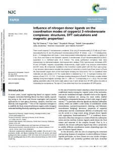 Influence of nitrogen donor ligands on the