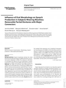 Influence of Oral Morphology on Speech Production