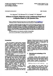 Influence of Organic Molecules on the Luminescent Properties of ...