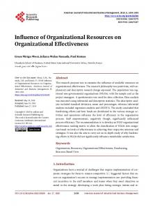 Influence of Organizational Resources on Organizational Effectiveness