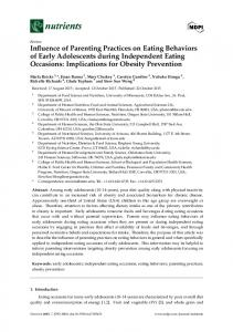 Influence of Parenting Practices on Eating Behaviors of Early ... - MDPI