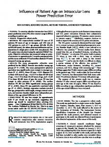 Influence of Patient Age on Intraocular Lens Power Prediction Error