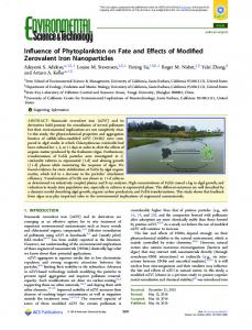 Influence of Phytoplankton on Fate and Effects of ... - ACS Publications