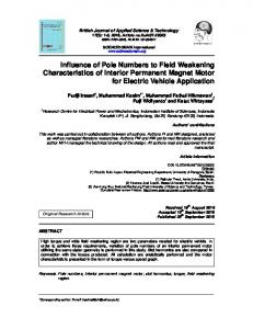 Influence of Pole Numbers to Field Weakening ... - Journal Repository