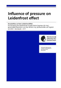 Influence of pressure on Leidenfrost effect - Core