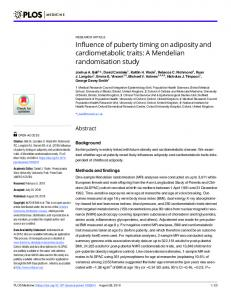 Influence of puberty timing on adiposity and cardiometabolic traits: A