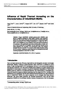 Influence of Rapid Thermal Annealing on the
