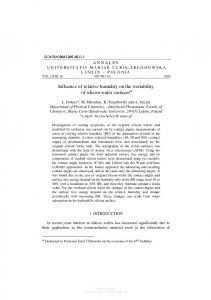 Influence of relative humidity on the wettability of ...
