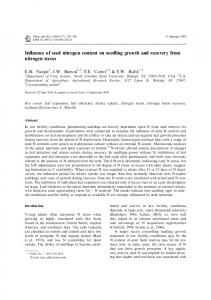 Influence of seed nitrogen content on seedling growth and recovery ...