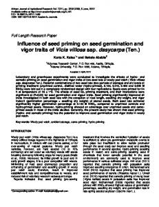 Influence of seed priming on seed germination and vigor traits of Vicia