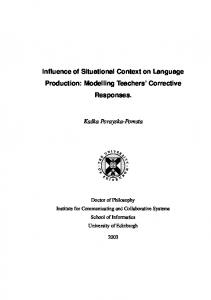 Influence of Situational Context on Language Production - School of