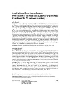 Influence of social media on customer experiences in restaurants: A ...