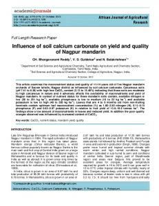 Influence of soil calcium carbonate on yield and ... - Academic Journals
