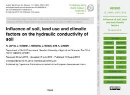 Influence of soil, land use and climatic factors on the hydraulic ...